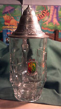 Bruxelles Coat of Arm's 0.5L Clear Glass Lidded Beer Stein made in Italy