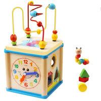 Baby Toys Educational Wooden Bead Maze Shape Sorter Activity Clock Cube Toy
