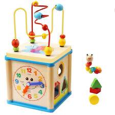Baby Toys Educational Wooden Bead Maze Shape Sorter Activity Clock Cube Toy