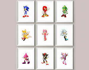 Sonic knuckles tails prints gaming games bedroom computer wall art decor prints