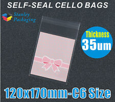 200x C6 size CELLO CLEAR Plastic BAGS 120x170mm Cellophane 12 x 17cm 35UM