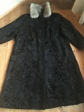 Persianer Mantel Peltzmantel schwarz Nerz Kragen 40er vintage art deco 44 46