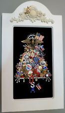 VTG JEWELRY MILITARY PATRIOTIC USA FRAMED ART TREE RHINESTONE EAGLE ANGEL FLAG