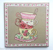 Wall Picture Plaque , Vintage Retro style Hand Made,  Cups, Decoupage Decopatch