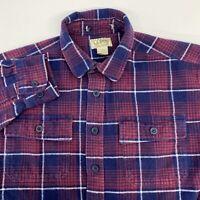 Vintage L.L. Bean Button Up Shirt Men's Large Long Sleeve Blue Red Heavy Flannel