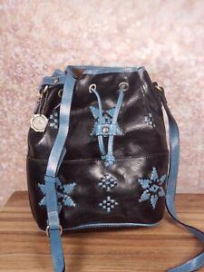 Patricia Nash - Leather Brindisi Drawstring Bag - Midnight Blue