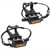 9/16'' Bike Pedals With Clip Strap for Outdoor Cycling and Indoor Stationary
