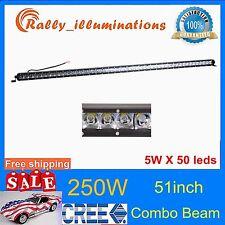 "51inch 250W Offroad Single Row CREE LED Light Bar SPOT FLOOD Car Truck SUV /50"""