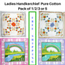 Ladies Handkerchief Women's Hanky Pure Cotton Assorted Designs Pack of 1/2/3or 5