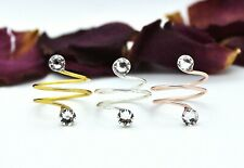 Adjustable Toe Ring Choose Your Finish With Clear Swarovski Crystal Elements