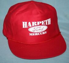 Vintage 1980s HARPETH FORD MERCURY Red Snapback Trucker Hat / Cap CARS TRUCKS