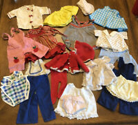 "VINTAGE Lot Of 20 BABY DOLL CLOTHES Sz Waist 4-6"" Handmade 50's-60's"
