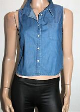 chic abooti Brand Blue Denim Sleeveless Crop Shirt Top Size 8 BNWT #SX16