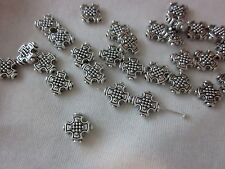 20 Antique Silver 12x12mm Cross Spacer Beads #sp3355 Combine Post-See Listing