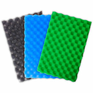 "17"" X 11"" POND FILTER FOAM SETS OF 3 FINE MEDIUM COARSE SPONGE SET FISH GARDEN"