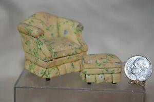 Miniature Dollhouse Bespaq Yellow Floral Arm Chair & Ottoman HALF Scale 1:24 NR