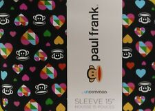 "15"" Paul Frank Monkey Multi Hearts Julius Neoprene Computer Sleeve MacBook New"