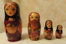 Vintage Ussr Signed Hand-Painted Matryoshka Family Nesting Doll 4 pcs
