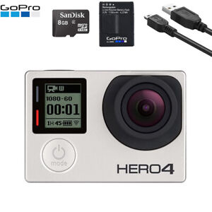 Gopro HERO 4 Black Edition 4K Action Camera With Battery + USB Charger + SD Card