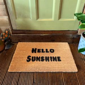 Hello Sunshine Coir Doormat: Quality Natural Indoor Outdoor Mat Non Slip UK