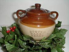 Beige, Brown & Tan Three-Toned Stoneware 3 Cup Boston Baked Bean Pot -Taiwan