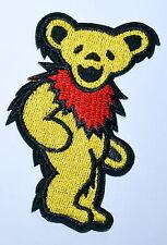 Yellow Grateful Dead DANCING BEAR Biker Punk Embroidery Iron on Patch