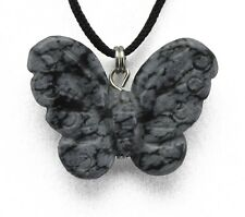 Butterfly Snowflake Obsidian Gemstone Pendant Hand Carved Stone Necklace