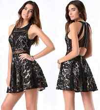 NWT bebe black nude overlay lace cutout back mesh flare top dress S small 4