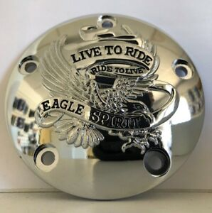 Chrome Live To Ride Ignition Timing Cover for Harley Twin Cam