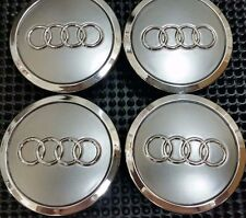 4 Pcs, Audi, Gray, Chrome Logo Center, Wheel Hub Cap, 70mm, A3, A4, A5, A6, S4