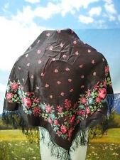 Ausdruckstarkes Fransentuch Seide Dirndltuch Blumen Muster Trachtentuch TT2102