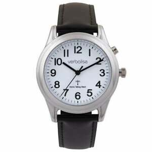 Ladies Talking Radio Controlled Watch with Black Leather Strap