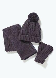Kids Boys Navy Cable Knit Hat Scarf & Gloves Set (3-13yrs)