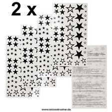 2 x Stern Tattoo Karten - 116 Sterne Fake einmal temporäry Tattoo - Fasching XL