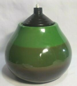 Large Modern Sphere shaped Green and Brown Oil Lamp with Lid