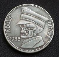 WW2 GERMAN HOBO COIN 5 REICHSMARK 1935 ADOLF HITLER SKULL THIRD REICH BERLIN
