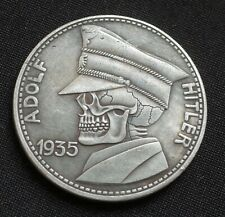 WW2 GERMAN HOBO COIN 5 REICHSMARK 1935 ADOLF HITLER SKULL THIRD REICH BERLIN