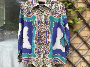 ETRO MILANO COTTON SHIRT,ladies,size 44,multicoloured,long sleeve,vgc
