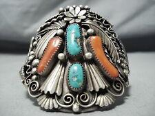 Signed Vintage Navajo Gilbert Turquoise Coral Sterling Silver Bracelet