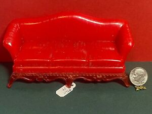 Vintage Renwal Sofa Couch Miniature 1:12 Dollhouse Red 1940s