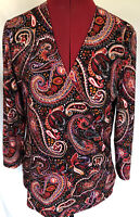 AK Anne Klein Medium Knit Top Faux Wrap 3/4 Sleeve Stretch Paisley Print