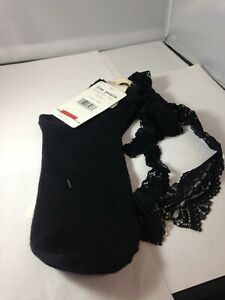 Free People Lace Up Ribbon Crew Socks Black One Size new with tags