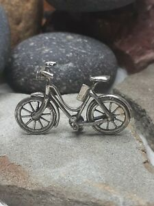 """Vintage 1.5"""" GIRLS BICYCLE BIKE MINIATURES DOLL HOUSE ITALY 800 STERLING SILVER"""