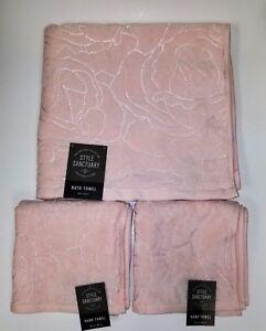 STYLE SANCTUARY 3 PC LIGHT PINK,ROSE DESIGN COTTON+VISCOSE 1 BATH+2 HAND TOWEL