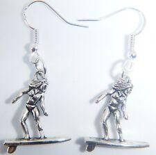 Tibetan Silver Surfer Girl Earrings On Sterling Silver Hooks Gift Bag Surfing