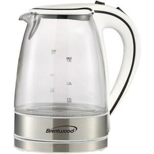 Brentwood Appl. KT-1900W 1.7L Cordless Tempered-Glass Electric Kettle (White)