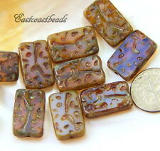 Rectangle Beads, 18x12mm,  Pink w/Opalite Finish, Czech Glass Beads, 6 Beads