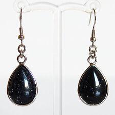 Semi-Precious Silver Teardrop Stone Earrings - Blue Goldstone