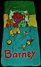 Vtg 1992 Barney Story Time Bedtime Youth Sleeping Bag Dinosaur Sleepover #1569