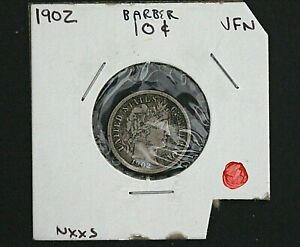 1902 -P  US Barber 90% Silver Dime Coin- Very Nice